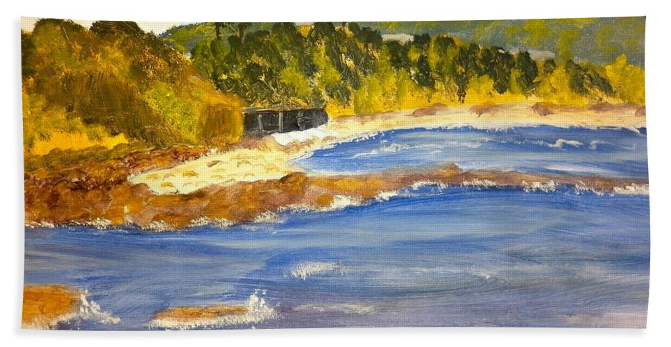 Impressionism Hand Towel featuring the painting Boatsheds At Sandon Point by Pamela Meredith