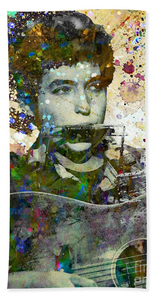 60s Bath Towel featuring the painting Bob Dylan Original Painting Print by Ryan Rock Artist