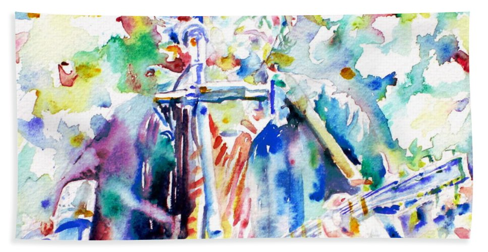 Bob Bath Sheet featuring the painting Bob Dylan Playing The Guitar - Watercolor Portrait.1 by Fabrizio Cassetta