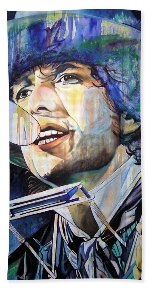 Bob Dylan Bath Sheet featuring the painting Bob Dylan Tangled Up In Blue by Joshua Morton