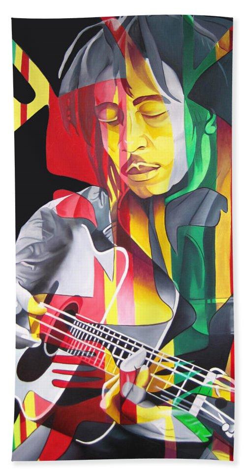 Bob Marley Hand Towel featuring the painting Bob Marley And Rasta Lion by Joshua Morton