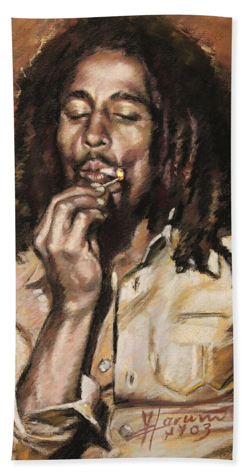 Jamaican Singer Bath Sheet featuring the drawing Bob Marley by Viola El