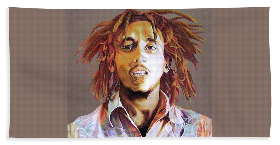 Bob Marley Hand Towel featuring the drawing Bob Marley Earth Tones by Joshua Morton