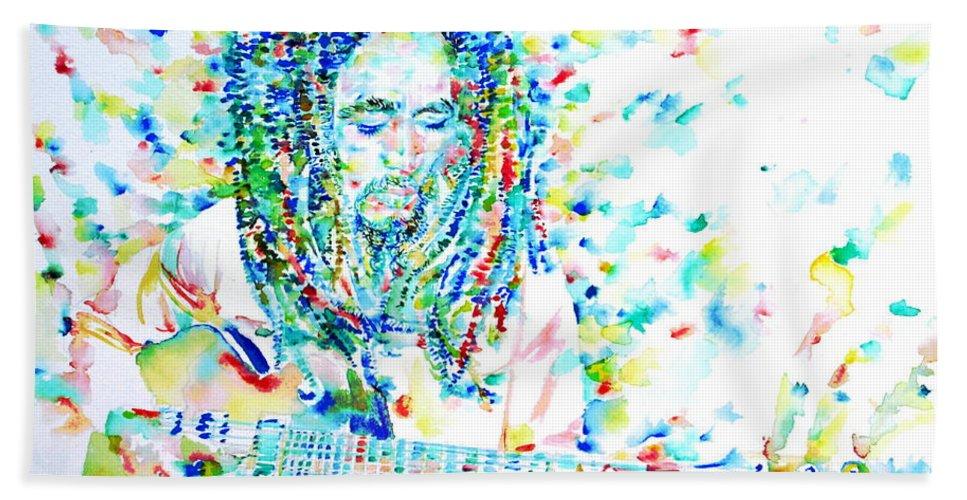 Bob Bath Sheet featuring the painting Bob Marley Playing The Guitar - Watercolor Portarit by Fabrizio Cassetta