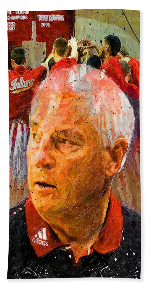 Bobby Knight Bath Sheet featuring the painting Bobby Knight Indiana Legend by John Farr