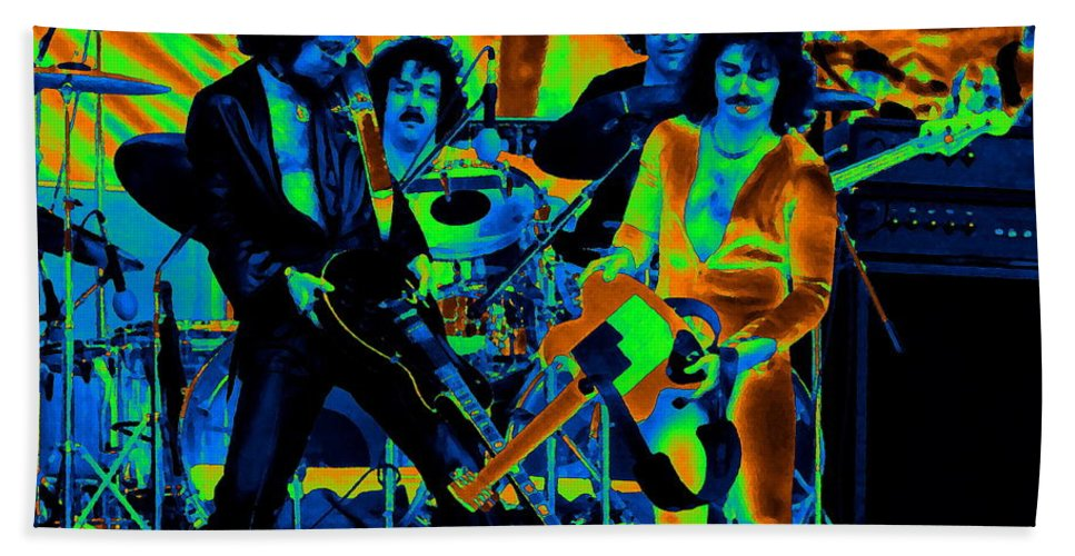 Blue Oyster Cult Hand Towel featuring the photograph Boc #43 Enhanced In Cosmicolors by Ben Upham