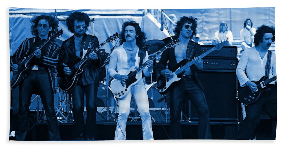 Blue Oyster Cult Hand Towel featuring the photograph Boc #47 Enhanced In Blue by Ben Upham