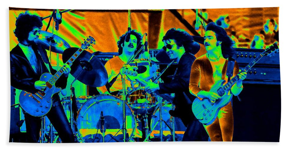 Blue Oyster Cult Hand Towel featuring the photograph Boc #70 Enhanced In Cosmicolors by Ben Upham