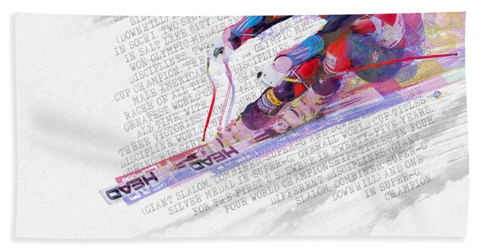 Bode Miller Hand Towel featuring the painting Bode Miller And Statistics by Tony Rubino
