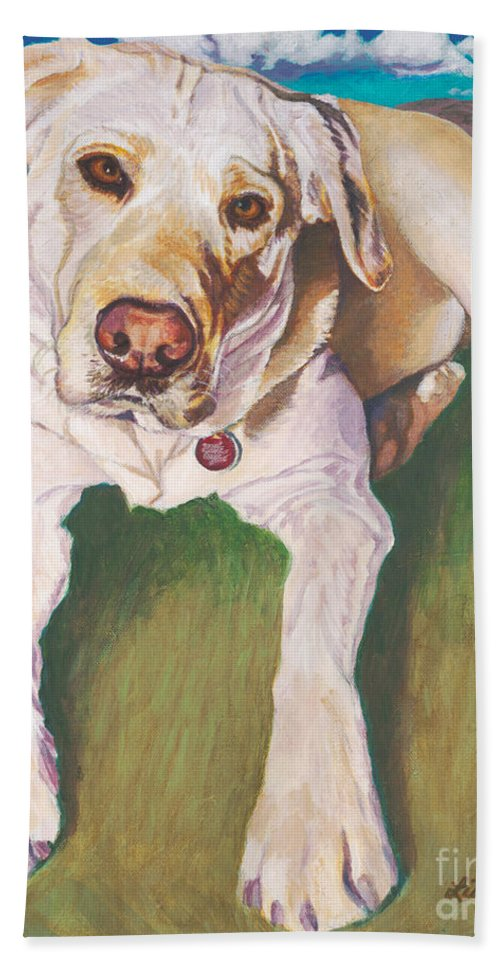 Pure Bred Labrador Retriever Bath Sheet featuring the painting Bodie Living Large by Lisa Hershman