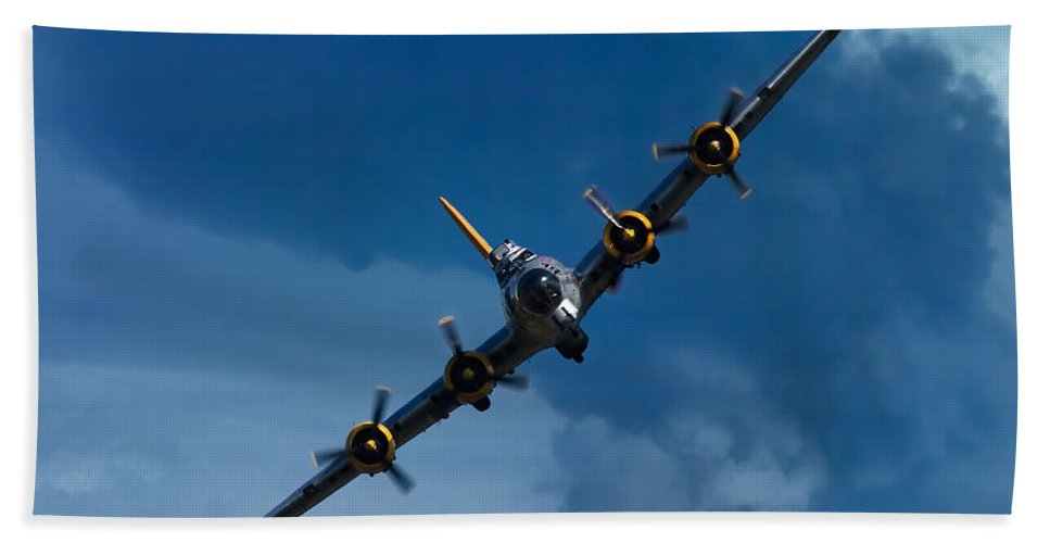 3scape Hand Towel featuring the photograph Boeing B-17 Flying Fortress by Adam Romanowicz