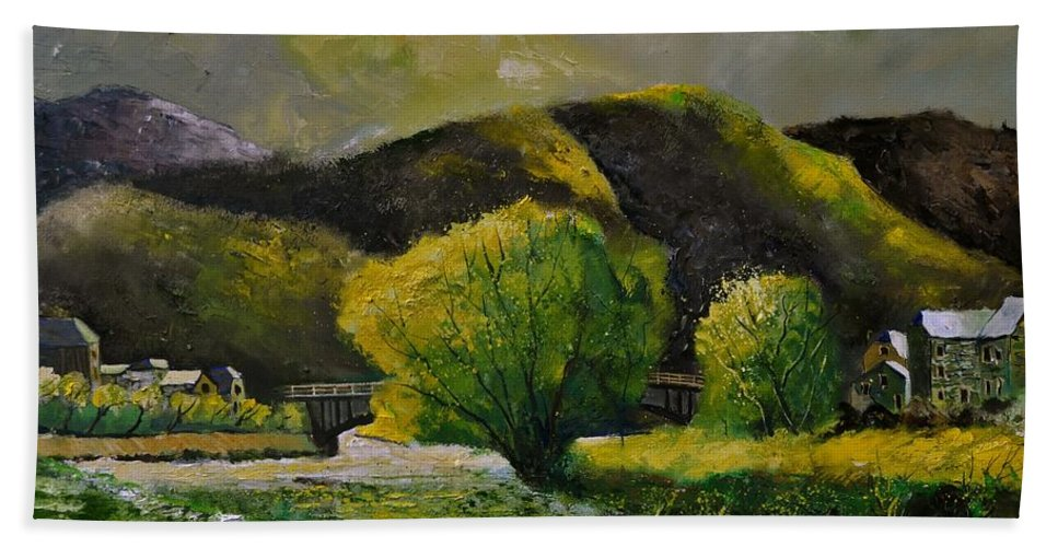 Landscape Hand Towel featuring the painting Bohan by Pol Ledent