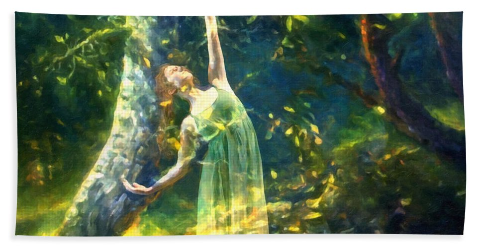 Impressionism Hand Towel featuring the painting Bohemian Dancer Fantasy by Georgiana Romanovna