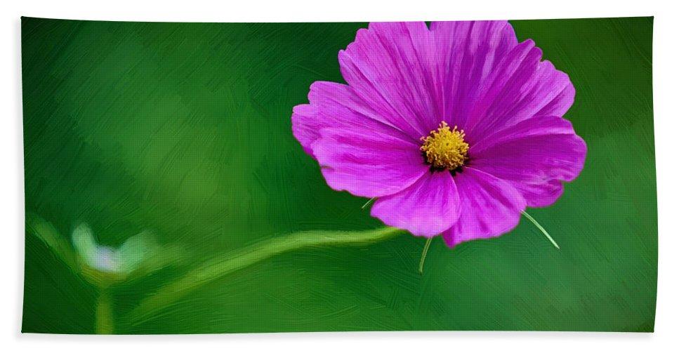 Flower Hand Towel featuring the painting Bohemian Garden Magenta by John Haldane