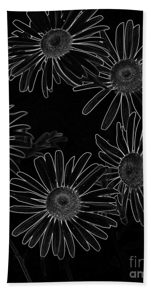 Bold Daisies Hand Towel featuring the mixed media Bold Daisies by Chalet Roome-Rigdon
