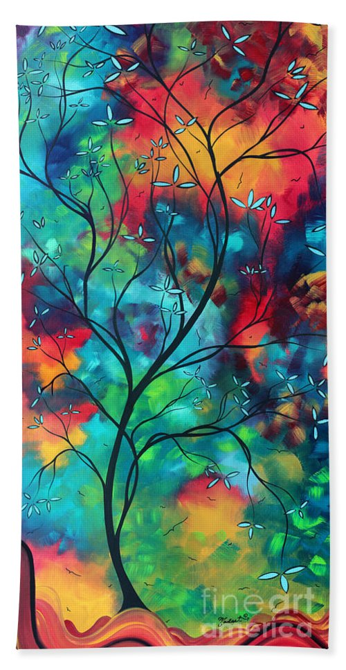 Abstract Hand Towel featuring the painting Bold Rich Colorful Landscape Painting Original Art Colored Inspiration By Madart by Megan Duncanson