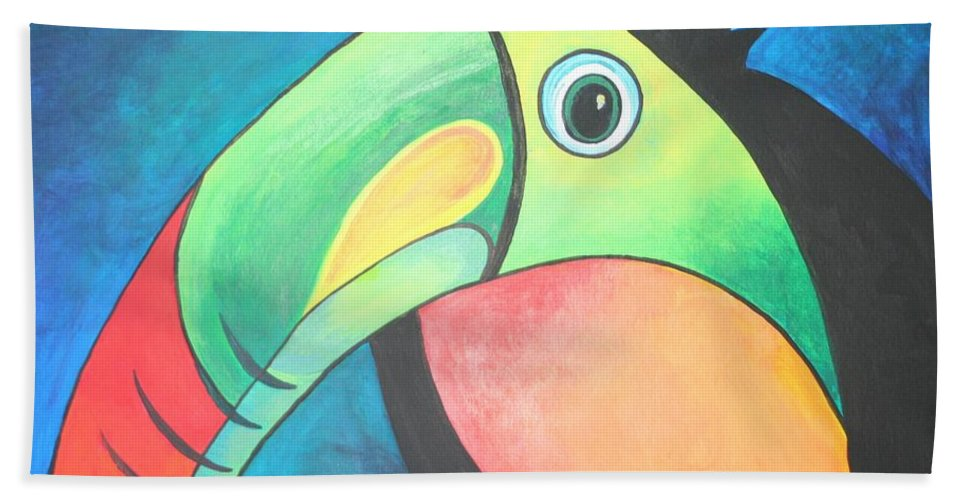 Toucan Hand Towel featuring the painting Bold Toucan by Taiche Acrylic Art