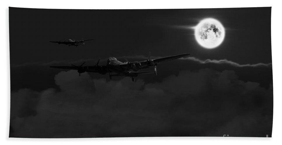 Lancaster Hand Towel featuring the digital art Bombers Moon by J Biggadike