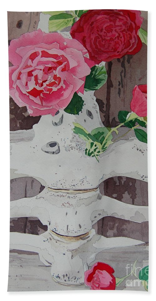 Nature Hand Towel featuring the painting Bones And Roses by Terry Holliday
