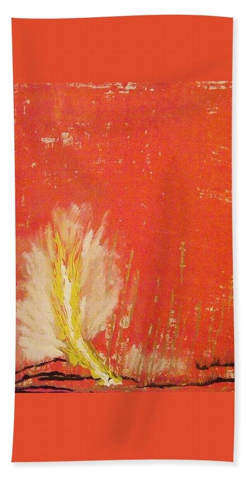 Landscape Bath Sheet featuring the painting Bonfire by Denise Morgan