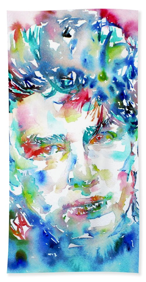 Bono Hand Towel featuring the painting Bono Watercolor Portrait.1 by Fabrizio Cassetta