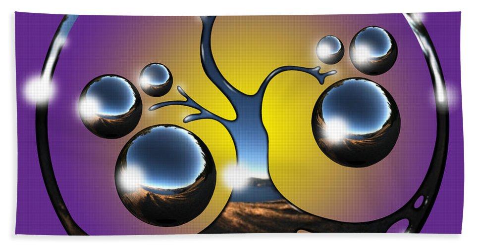 Tree Bath Towel featuring the digital art Bonsai Chrome Logo by Robert Fenwick May Jr