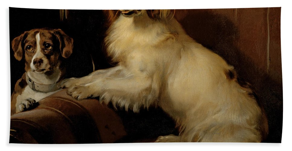 Dog Bath Sheet featuring the painting Bony And Var by Sir Edwin Landseer