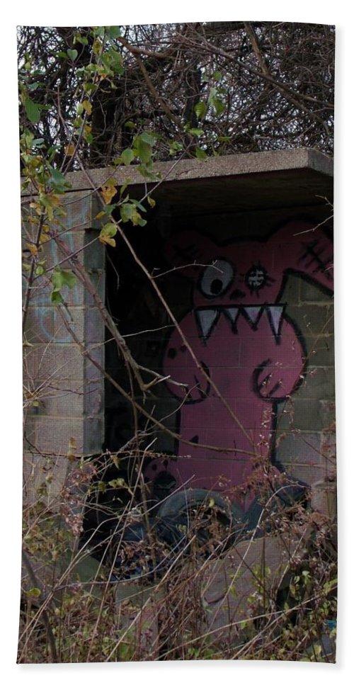 Graffiti Hand Towel featuring the photograph Boogie Monster Graffiti by Wendy Gertz