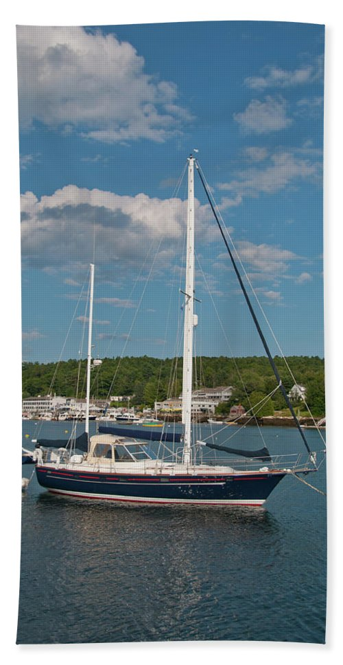 Boat Hand Towel featuring the photograph Boothbay Harbor 1390 by Guy Whiteley