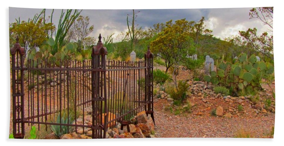 Boothill Cemetary Image Bath Sheet featuring the photograph Boothill Cemetary Image by John Malone