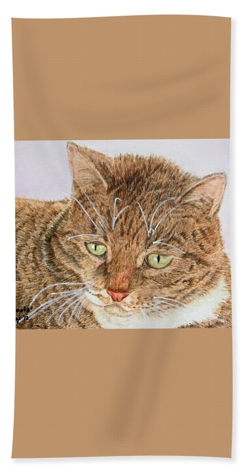 Cats Hand Towel featuring the painting Boots by Carol Luzzi