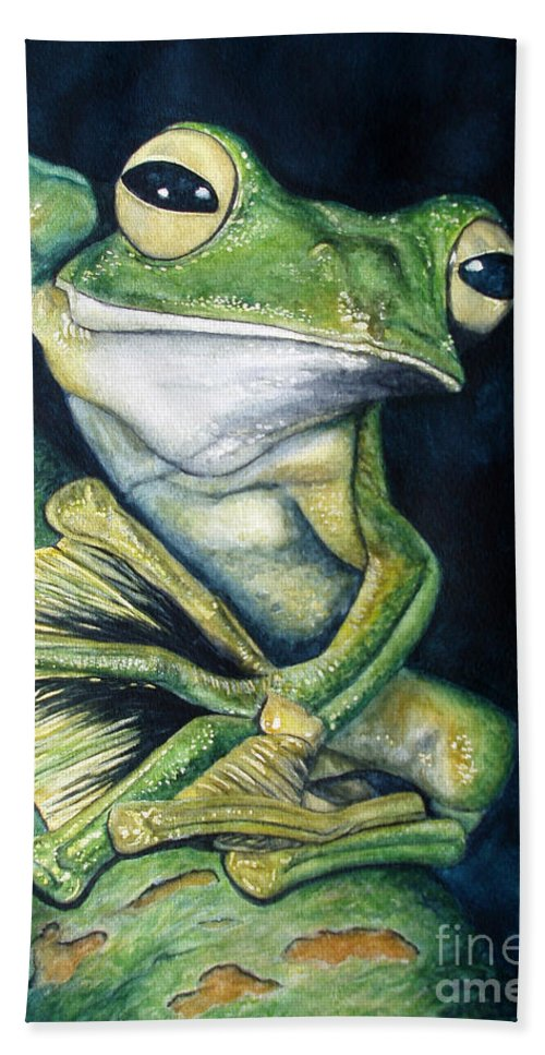 Frog Bath Sheet featuring the painting Boreal Flyer Tree Frog by Joey Nash