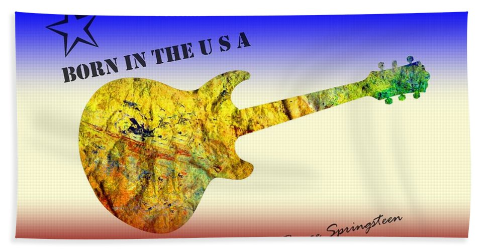 Born In The U S A Bath Towel featuring the painting Born In The U S A Bruce Springsteen by David Dehner