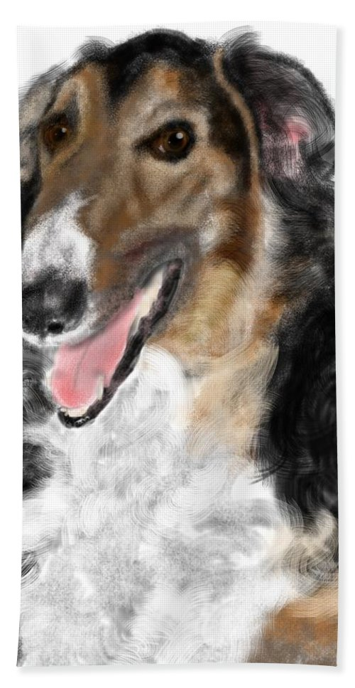 Borzoi Hand Towel featuring the painting Borzoi Handsome by Lois Ivancin Tavaf