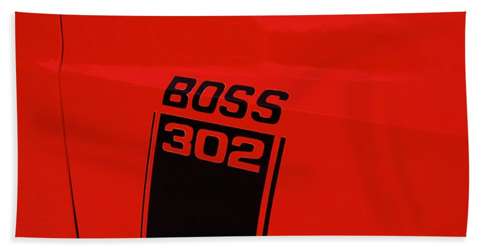 Photography Bath Sheet featuring the photograph Boss 302 Emblem On A Car by Panoramic Images