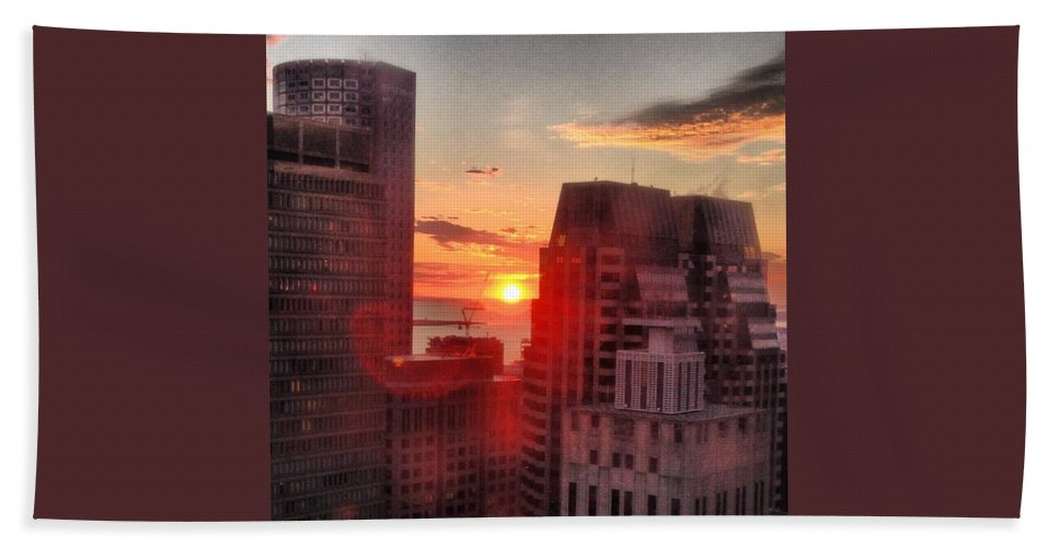 Instagram Hand Towel featuring the photograph Boston At Dawn by Mark Valentine