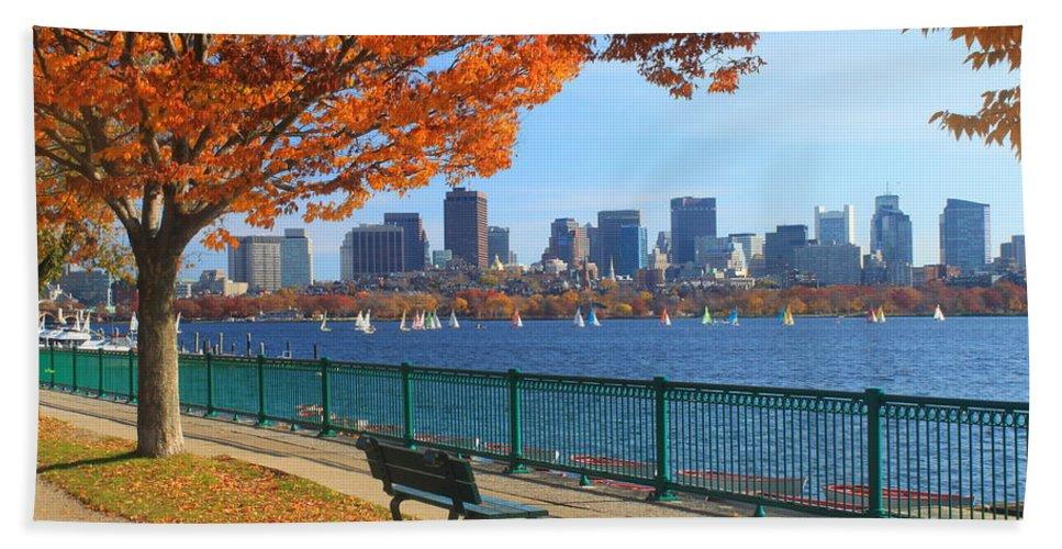 Boston Bath Towel featuring the photograph Boston Charles River in Autumn by John Burk