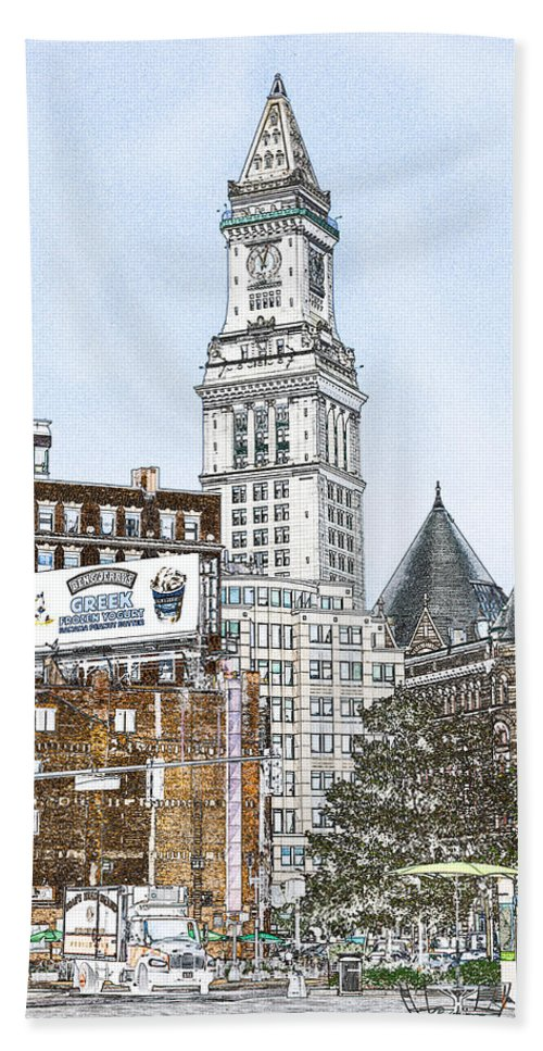 Fred Larson Bath Sheet featuring the photograph Boston Custom House Tower by Fred Larson