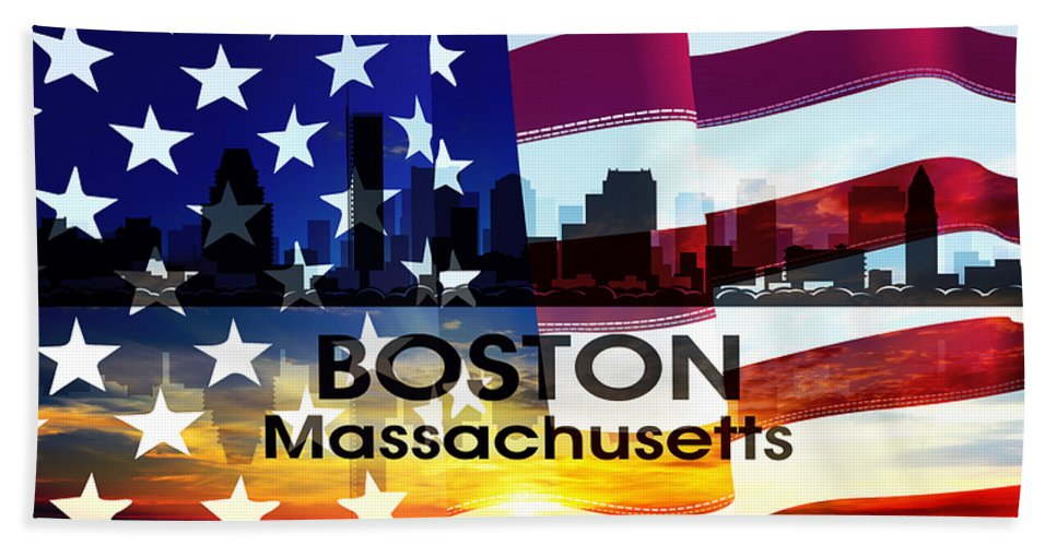 City Silhouette Bath Sheet featuring the digital art Boston Ma Patriotic Large Cityscape by Angelina Vick