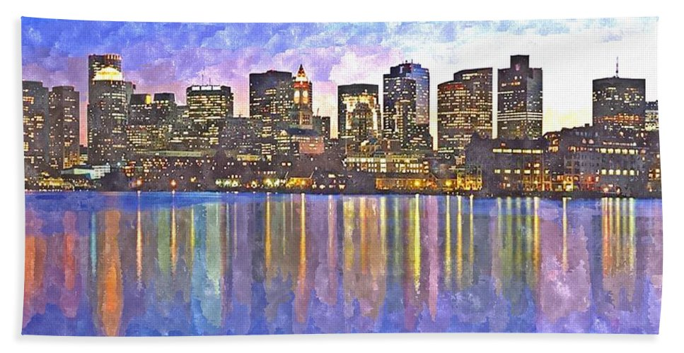Boston Hand Towel featuring the painting Boston Skyline By Night by Rachel Niedermayer