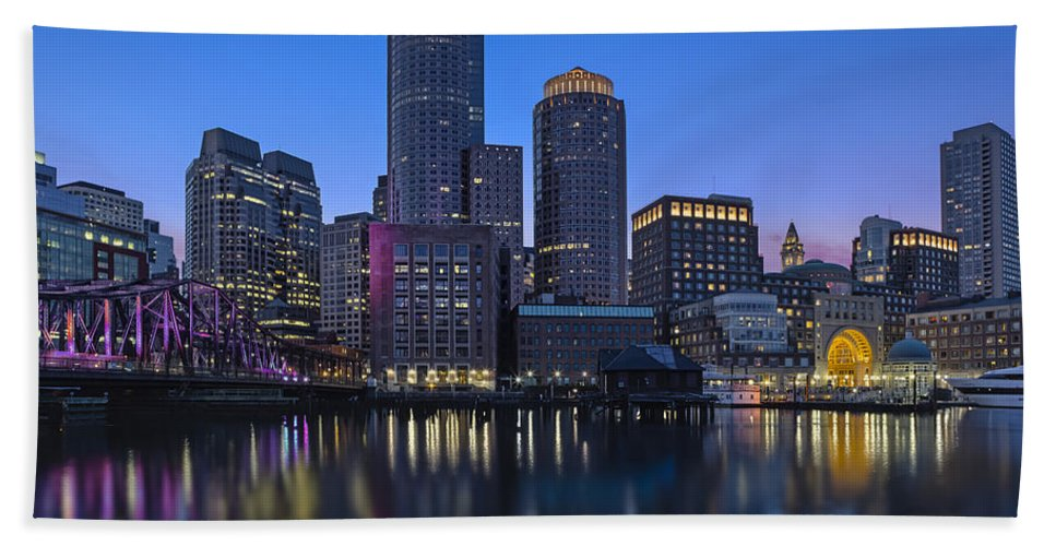 Boston Bath Sheet featuring the photograph Boston Skyline Seaport District by Susan Candelario