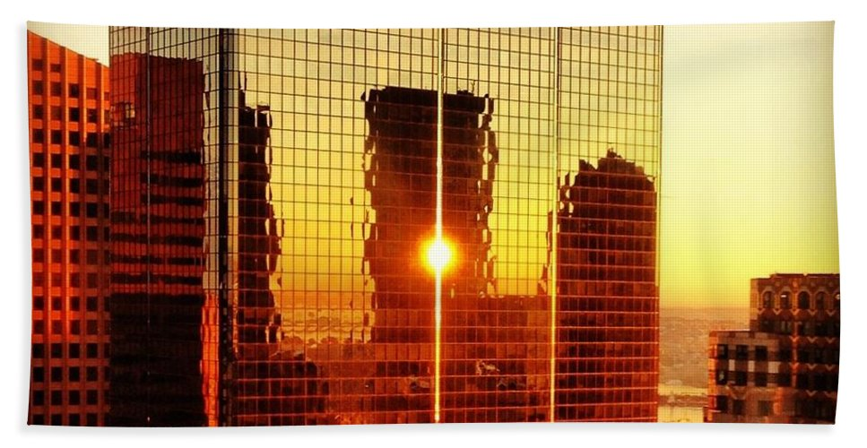 Instgram Hand Towel featuring the photograph Boston Sunrise by Mark Valentine