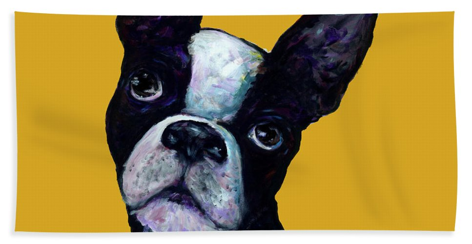 Boston Terrier Bath Sheet featuring the painting Boston Terrier On Yellow by Dale Moses