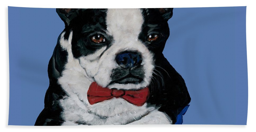 Boston Bath Sheet featuring the painting Boston Terrier With A Bowtie by Dale Moses