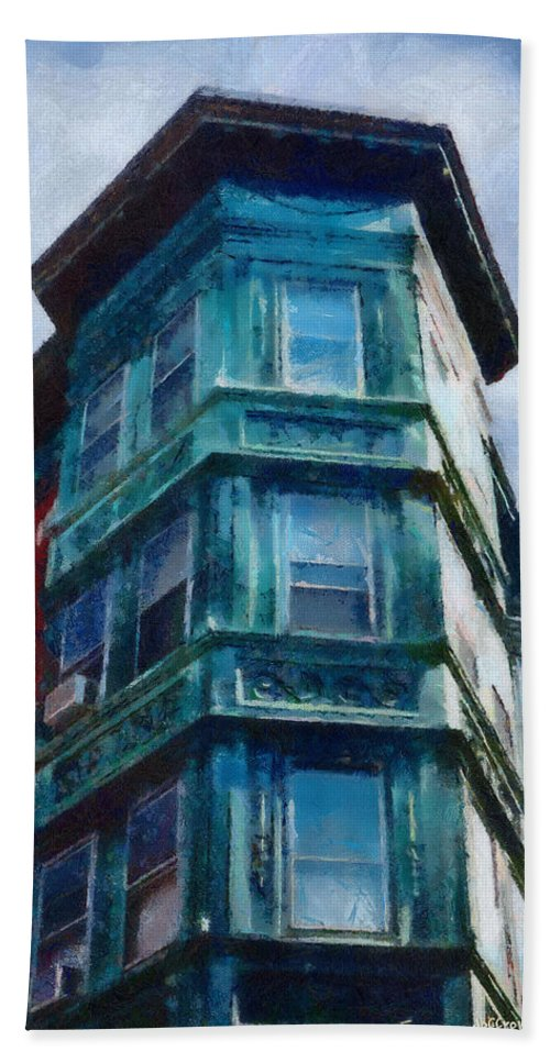 America Hand Towel featuring the painting Boston's North End by Jeffrey Kolker