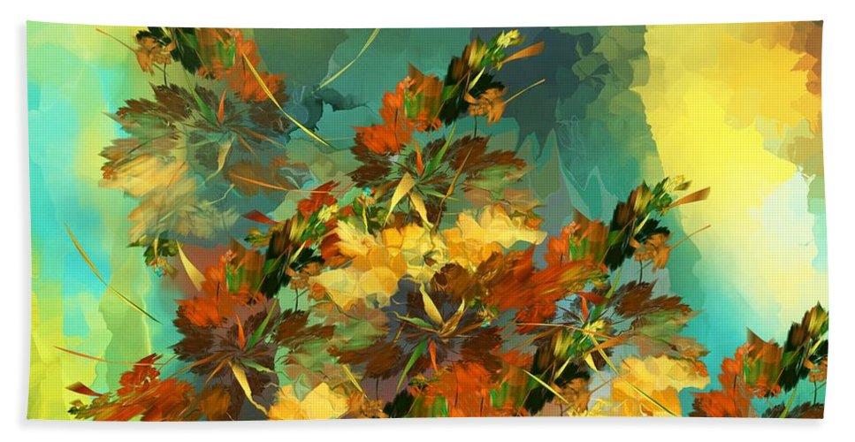 Fine Art Bath Sheet featuring the digital art Botanical Fantasy 090914 by David Lane