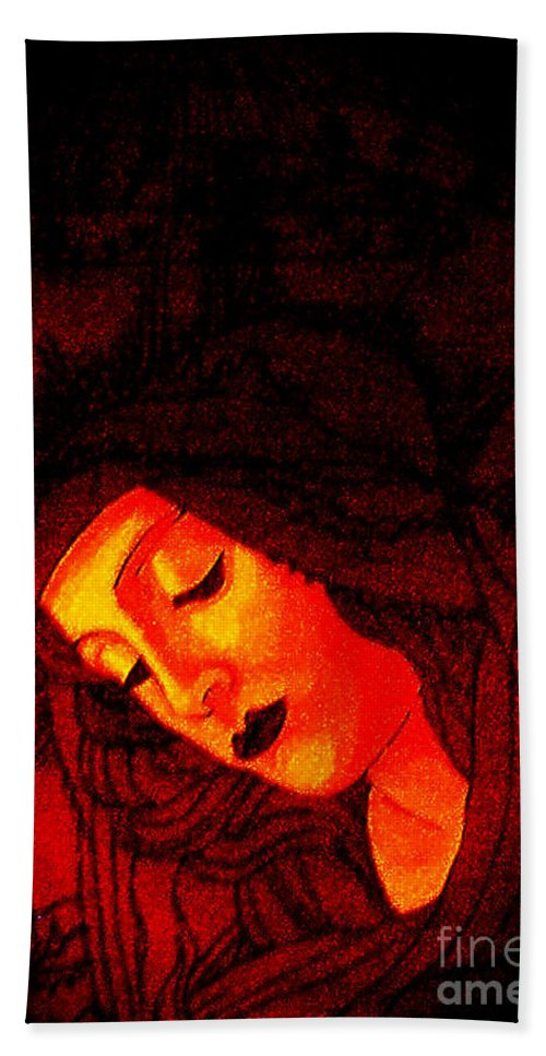 Madonnaandchild Hand Towel featuring the painting Botticelli Madonna In The Light by Genevieve Esson