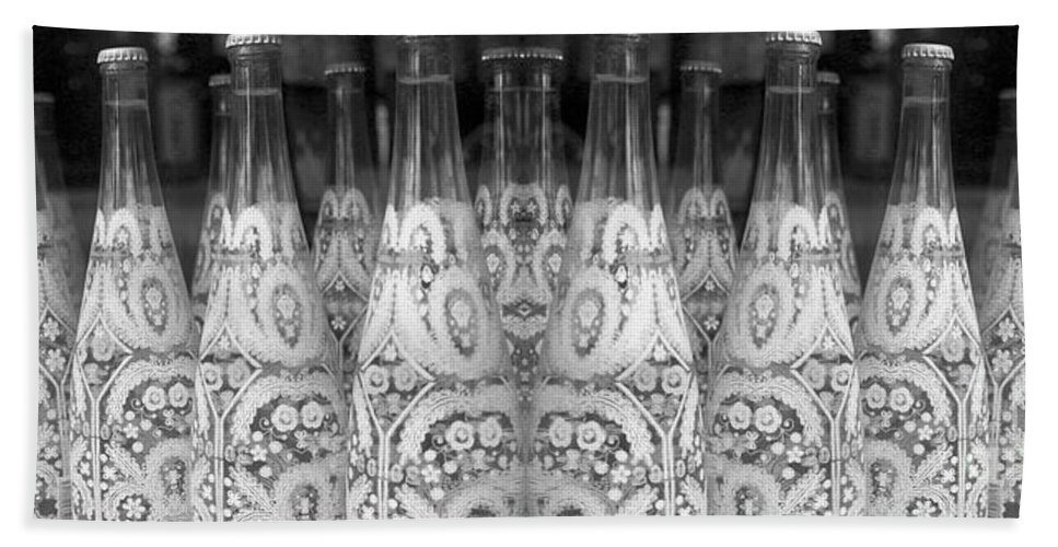 Spring Water Bath Sheet featuring the photograph Bottle Line-up by Nina Silver