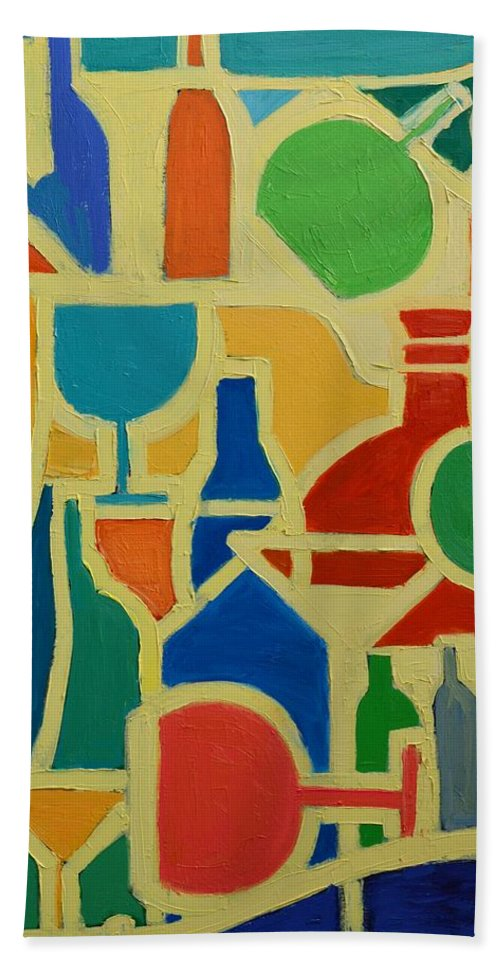Abstracts Bath Sheet featuring the painting Bottles And Glasses 2 by Ana Maria Edulescu