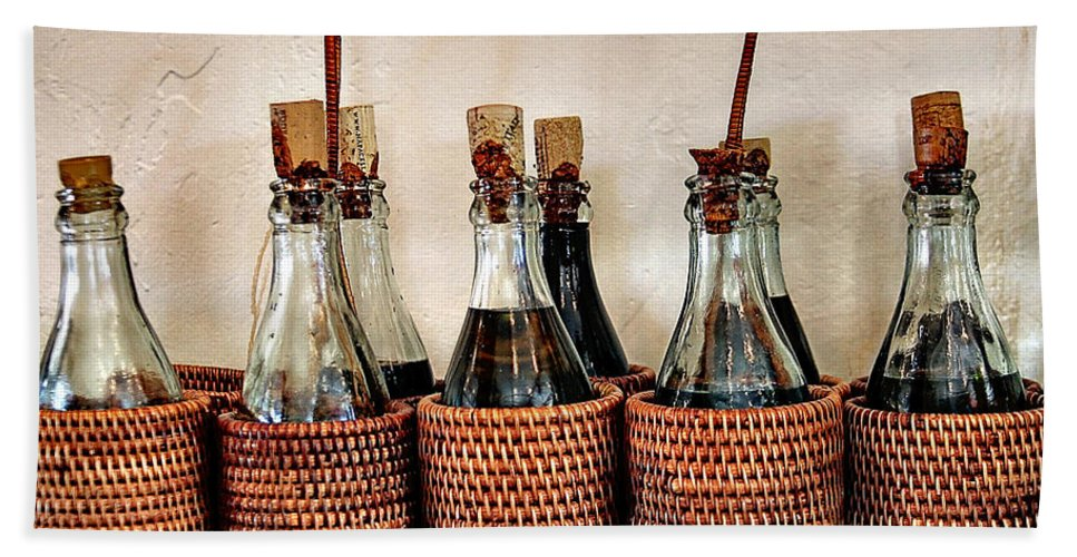 Bottles In Baskets Bath Sheet featuring the photograph Bottles In Baskets by Eduardo Palazuelos Romo